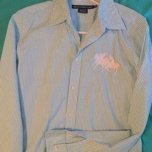Women's Ralph Lauren Sport pinstripe blouse 14
